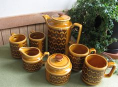 Coffee Set Brown and Gold Coffee Pot and Mugs by LazyYVintage. Medieval Design, http://www.etsy.com/shop/LazyYVintage