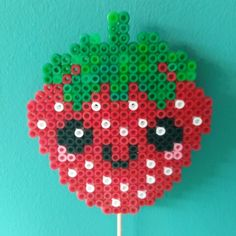 Kawaii strawberry hama beads by KleurigDees Easy Perler Bead Patterns, Diy Perler Beads, Perler Bead Art, Pearler Beads, Diy For Kids, Crafts For Kids, Crafts To Make, Diy Crafts, Iron Beads