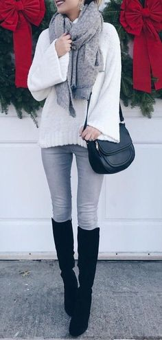 #winter #outfits white long sleeve shirt and gray scarf