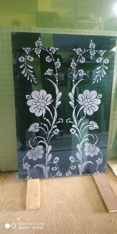 Glass Partition Designs, Window Glass Design, Frosted Glass Design, Glass Etching Designs, Glass Painting Designs, Paint Designs, Glass Closet Doors, Glass Doors, Etched Glass Door