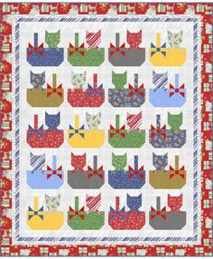 Baskets of Fun by Wendy Sheppard, Free Projects, Windham Fabrics Scrappy Quilt Patterns, Quilt Square Patterns, Scrappy Quilts, Mini Quilts, Square Quilt, Quilting Projects, Quilting Designs, Quilting Ideas, Star Quilt Blocks