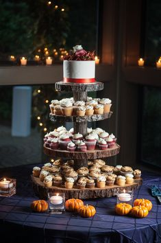 Love this wooden slab #cupcake stand #country #brides Will Pursell Photography l Read more http://www.rusticfolkweddings.com/2014/08/11/fall-country-wedding-at-whonnock-lake/