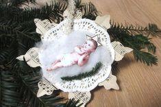 Shabby Chic Baby, Christmas Tree Decorations, Christmas Gifts, Christmas Ornaments, Holiday Decor, Crystal Snowflakes, Tree Pendant, Baby Jesus, Delicate
