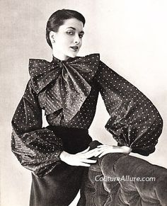 poofy sleeves/ opposite of 1980's leg o mutton sleeves but still works. Couture Allure Vintage Fashion: Pierre Balmain's Voluminous Sleeves - 1950