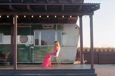 From a trailer park hotel we went to in Joshua Tree. Vintage dress.