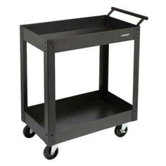 Husky-Steel-Metal-2-Shelf-Rolling-Utility-Service-Tool-Warehouse-Cart-PMT-102R3