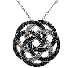 Large Love Knot Sterling Silver Diamond Pendant with Chain - BLUE Love To Shop, Silver Diamonds, Beautiful Necklaces, Diamond Pendant, Knot, Jewerly, Channel, Bling, Pendants