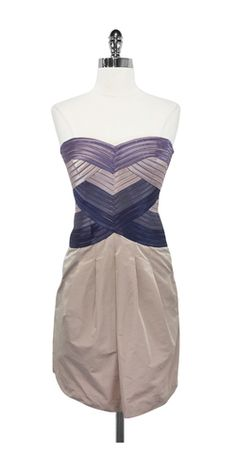 BCBG Purple & Blush Hana Strapless Dress