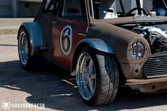 """I know that I've posted some pic's of this mad Mini in the """"No Ryhme."""" thread before, but after I've found some more pic's of it, I thought I'd start a thread for it. I can find very little Mini Cooper Custom, Mini Copper, Mini Monster, Porsche 944, Power Cars, Car Tuning, Classic Mini, Toys For Boys, Hot Cars"""