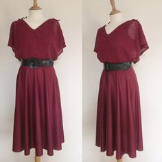 Vintage 70s / Burgundy / Flutter Sleeve / by PlayhouseVintageShop