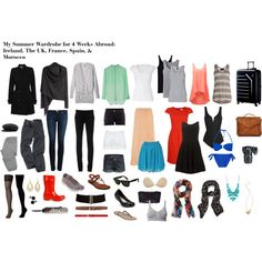 My Summer Wardrobe for 4 Weeks Abroad: Ireland, The UK, France, Spain, & Morocco Travel Wardrobe, Summer Wardrobe, Capsule Wardrobe, One Suitcase, Wardrobes, Travel Style, Just In Case, Spring Fashion, Bathing Suits