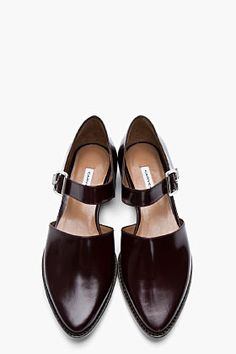CARVEN Burgundy Leather Buckled D'Orsay Flats. I love these! Best I've seen in a bit!