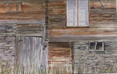 Joy Barry- Timber facade of old Norwegian Farmhouse where slate and stone are integrated with the building.  £105  This painting is in Watercolour, glazed with medium tone wood frame