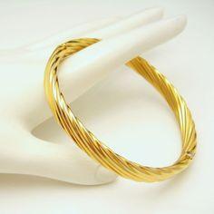 NAPIER Mid Century Gold Plated Swirls Vintage Bangle Bracelet Opens Nice Elegant Design #MyClassicJewelry