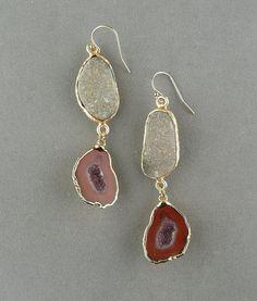 geode earrings long druzy gold dangle by rockedjewelry on Etsy, $195.00