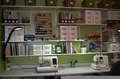 sewing room designs and layouts | Found on twopeasinabucket.com