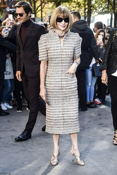 Tweed dream: Casting her skilled eye over proceedings was Anna Wintour, editor-in-chief of...
