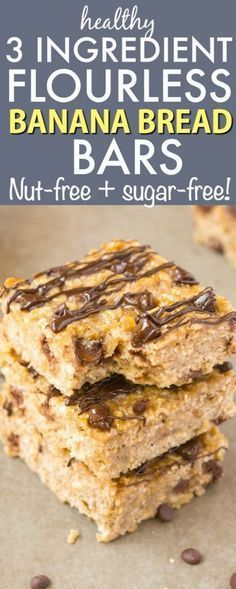 Healthy 3 Ingredient FLOURLESS Banana Bread Bars- Thick chewy and tasting JUST like banana bread they are tender on the outside and slightly gooey and soft on the inside- Made with NO butter flour oil sugar or dairy! A quick easy nut-free and delic Quick Easy Desserts, Easy Bread Recipes, Banana Bread Recipes, Almond Recipes, Banana Recipes No Sugar, No Sugar Banana Bread, Flour Recipes, Banana Bread Recipe 8x8 Pan, Pumpkin Recipes