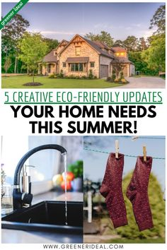 Going green this summer is an excellent way of exercising creativity and preserving the environment. Living green provides parents with the opportunity of handing down responsibilities to the coming generation. Children will be more aware earlier in their lives, which ensures the future of the planet is in safe hands. Here are five creative green updates for your home this summer. #gogreen #greenlivingtips #ecofriendly #ecofriendlyliving #home #homeimprovement #summer #summertips Green Living Tips, Earth Homes, Eco Friendly House, Go Green, Sustainability, Home Improvement, Environment, Outdoor Structures, Zero Waste