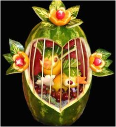 Fruit Carving - Vegetable Carving  -Watermelon Bird Cage