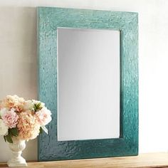 From a distance, you'll be impressed with the subtle light-to-dark drama of this Blue Ombre Mother-of-Pearl Mirror. Look closer, and the subtle shimmer of mother of pearl comes to light, lend… Decor, Mirror Makeover, Blue Walls, Classic Towels, Mosaic House, Diy Mirror, Furniture Decor, Mirror Decor, Blue Wall Art