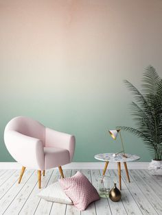 two-color-wall design-ombre-wall color wallpaper walls-creative-make - Do it yourself decoration Murs Pastel, Deco Pastel, Pastel Pink, Pastel Home, Blush Pink, Soft Pastels, Pink Soft, Pastel Colours, Soft Colors