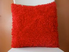 Fluffy Funky Red Pillow, Decorative, Super Soft Scarlet Fuzzy Pillow