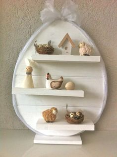 white egg R White, R Colors, Easter Crafts, Easter Decor, Spring Is Here, Deco Table, Happy Easter, Holiday Fun, Floating Shelves