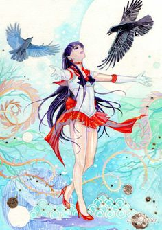 Sailor Mars with Phobos and Deimos  me & my crows lol. ;)