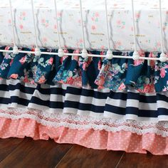 Someone want to make a three tiered ruffle skirt similar to this for me? Navy and coral, I like that it's got floral, stripes and pokladots. =)