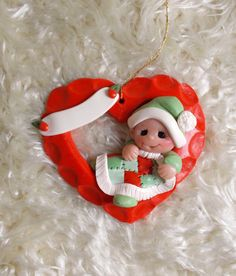 BABY CHRISTMAS ORNAMENT first Christmas ornament red by clayqts