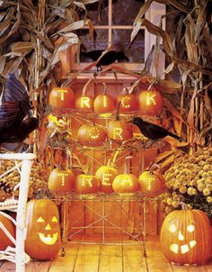 Fun way to greet Halloween guests... via Country Living.