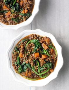 This lentil stew is a winner – it ticks all the boxes for a simple, wholesome, nutritious, comforting supper. Use a good vegetable stock if you're making this vegan. Vegetable Pie, Vegetable Stock, Healthy Lunch Recipies, Puy Lentil Recipes, Chickpea And Potato Curry, Lentil Casserole, Roasted Baby Potatoes, Roasted Fennel, Spinach Curry