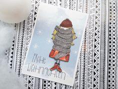 """Weihnachtskarte """"Frohe Weihnachten mit Mädchen"""" // christmas card via DaWanda.com"""