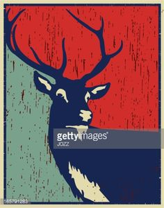 Vector Art : red deer vintage poster