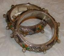 Matching Pair of Berber Enameled Silver Knobby Bracelets from ethnictreasures on Ruby Lane