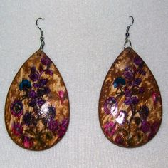 "Handmade, hand painted, coconut shell, floral, flower, purple dangle earrings -- For Sale @ ""World Of Whimsy"" Group: https://www.facebook.com/groups/WorldOfWhimsy"