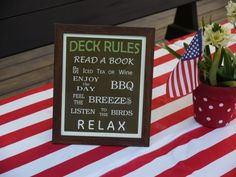 Deck Rules... need to redo this for the Cabin.  Cabin Rules: Read a book.  Take a hike.  Eat.  Shower outside.  Hammock nap.  Relax.  Journal.  Kayak.  Campfire.  Hot tub dips. ????