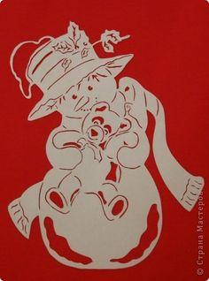 Картина панно рисунок Новый год Вырезание Снеговик с мишкой Бумага фото 1
