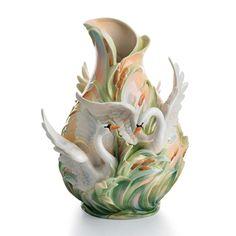 Franz Porcelain Swan Vase Southern Splendor
