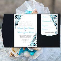 Pocket Fold Wedding Invitations Gianna Malibu by WeddingTemplates