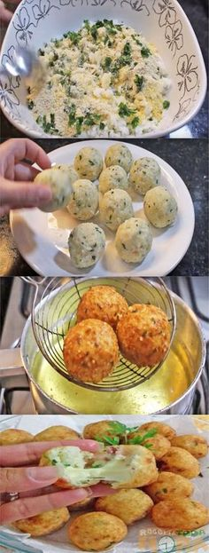 Bolinho de Arroz com Bacon e Mussarela I Love Food, Good Food, Yummy Food, Tasty, Appetizers For Party, Appetizer Recipes, Cooking Recipes, Healthy Recipes, Portuguese Recipes