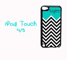 Cute chevron iPod case with black and white chevron and aqua blue.  Monogrammed with your name or initials.  #TGTLteens @Etsy #personalizedgift #graduationgift