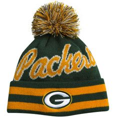 Packers Youth Vintage Cuffed Pom Knit Hat