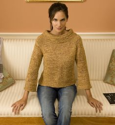 This wide-neck pullover is a relatively quick knit. Knit in one piece, top down raglan construction, body and sleeves worked in the round, short-repeat stitch pattern.