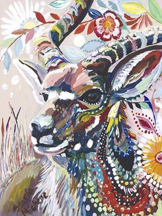 Colorful Animal Oil Painting by Starla Michelle