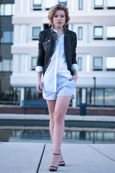 www.redreidinghood.com RED REIDING HOOD: Fashion blogger wearing BLUEGOLD leather biker jacket Alexander Wang pyjama shorts streetstyle pj suit  Zara strappy sandals model off duty outfit designer look