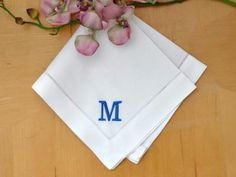 Set of 4 Monogrammed Linen Dinner Napkins w/ 1 Initial- Font R Initial Fonts, Monogram Initials, Dinner Napkins, Cocktail Napkins, Monogrammed Napkins, Personalized Napkins, Linen Placemats, White Towels, Block Lettering