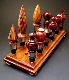 17 Hole Bottle Stopper Display Rack Stand, Handmade in Solid Walnut Lathe Projects, Wood Turning Projects, Wood Projects, Wine Bottle Glass Holder, Wine Bottle Stoppers, Bottle Openers, Glass Holders, Bottle Labels, Wine Decor