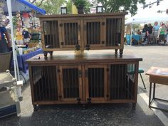 Double Small and Double Medium Dog Kennels, solid wood, custom made-to-order